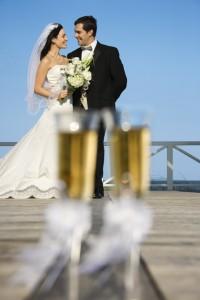 Hochzeit mit Braut und Bräutigam
