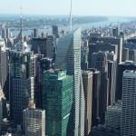 Der Ausblick auf die Hochhäuser von New York von einem Hochhaus aus.