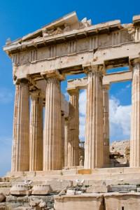 Die Tempel von Athen an der Akropolis.